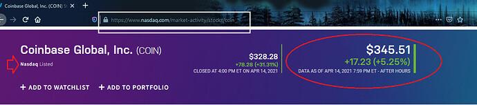 Preço Fech Ação Coinbase 14 04 2021