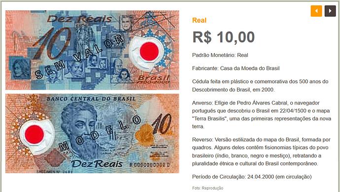 Cédula 10 reais plástico