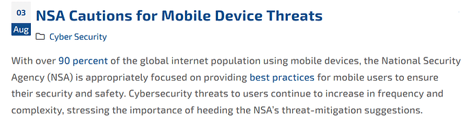 NSA Caution for Mobile Device