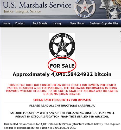 US Marshals Service leiloam bitcoins apreendidos