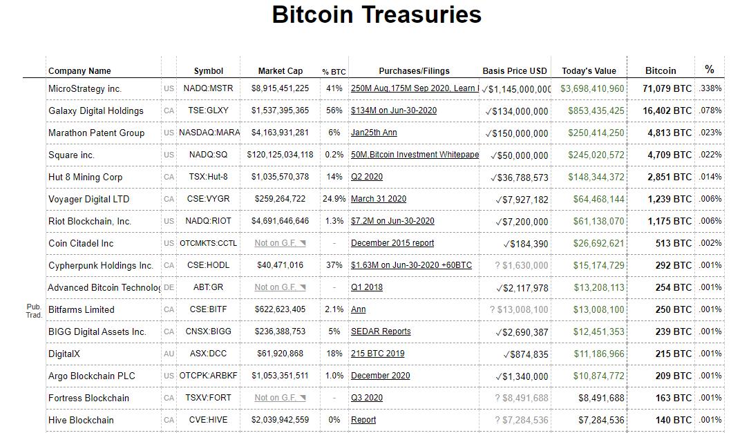 Bitcoin treasuries 18 02 21